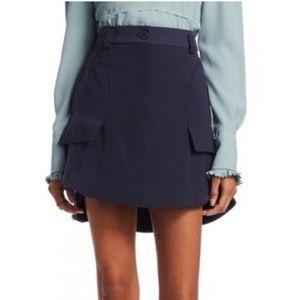 Carven Patch Pocket Night Blue Mini Skirt
